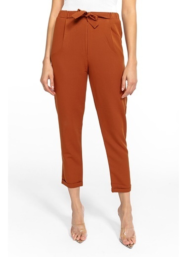 Tiffany&Tomato Beli Lastik Kuşaklı Havuç Pantolon - Taş Kahve